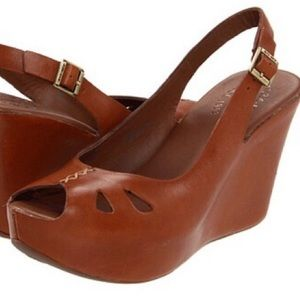 Kirk-ease leather wedge peep-toe sling-backs